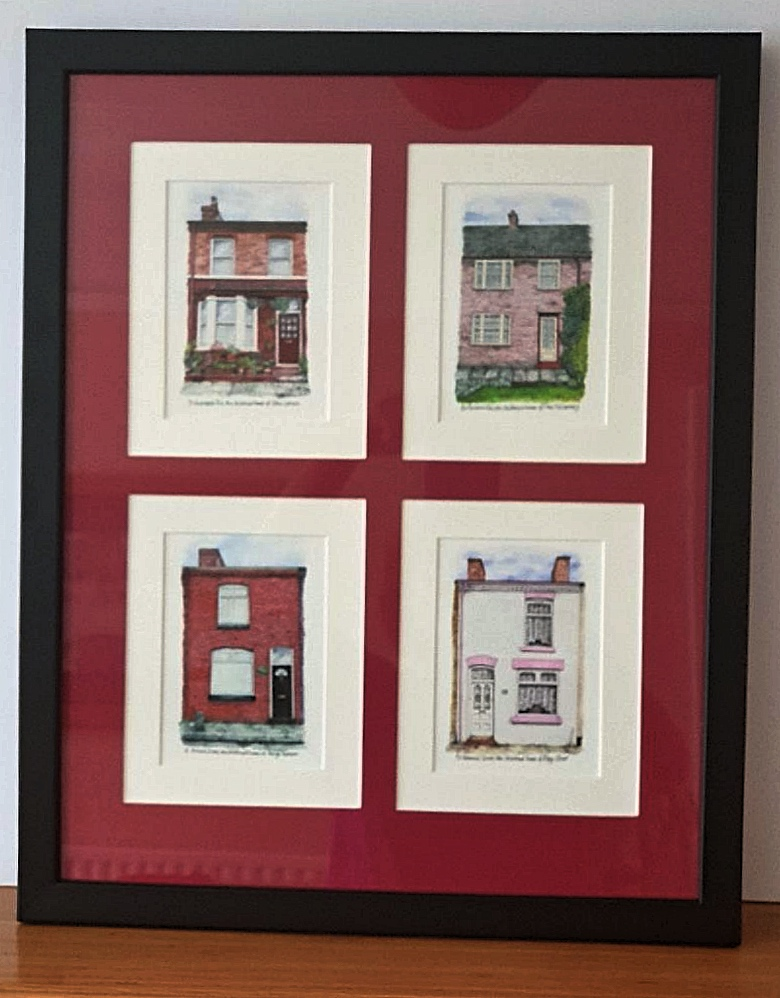 Beatles-Childhood-Homes-collection-paintings-by-Celia-John-mounted-and-framed