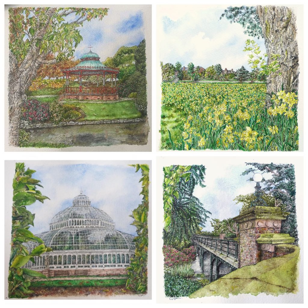 Sefton-Park-Four-Paintings-Collection-by-Celia-John-Collage